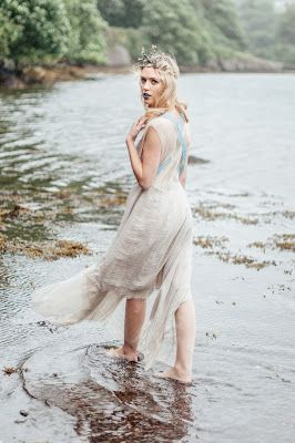 © Ayna O'Driscoll Photography, Styling/Couture/Crown: Alice Halliday https://www.etsy.com/listing/466585420/boho-wedding-dress-mermaid-wedding-dress. Boho Bridal Inspiration, Lady of the Lake, Mermaid Style, Boho Bride, Blue lipstick, Bridal Crown, beach wedding