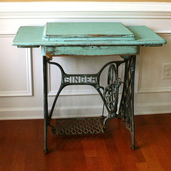 My mom has this exact same sewing table. Would be cute as vintage Turquoise Entryway Table Desk