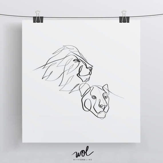 Lion and Lioness Art Print – One Line Drawing – King and Queen of the Jungle – Custom Single Line
