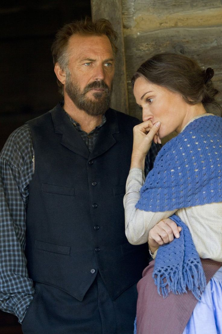 Still of Kevin Costner and Sarah Parish in Hatfields & McCoys (2012)