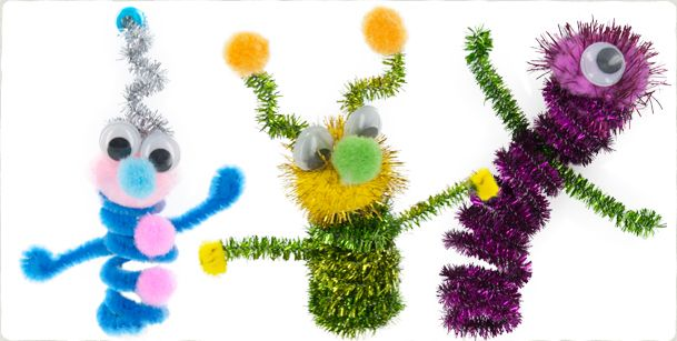 Fuzzy Puppet Aliens - aliens can be made out of just about anything, but don't forget the googly eyes! :)