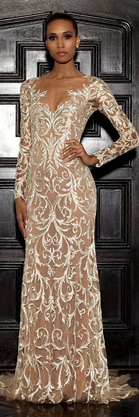 Lorena Sarbu Resort 2015 - silver-nude fully embroidered long sleeve illusion gown | guipure