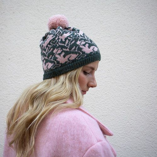 Lupuna knitted beanie in forest green & cottoncandy pink/ 100 % super soft alpaca / handmade with love % care