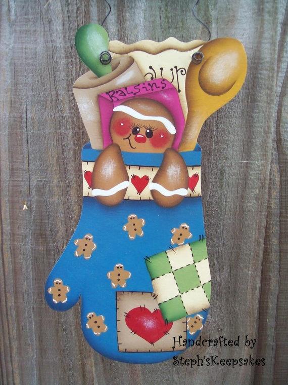 Handpainted Gingerbread in a Mitt by stephskeepsakes on Etsy, $9.99
