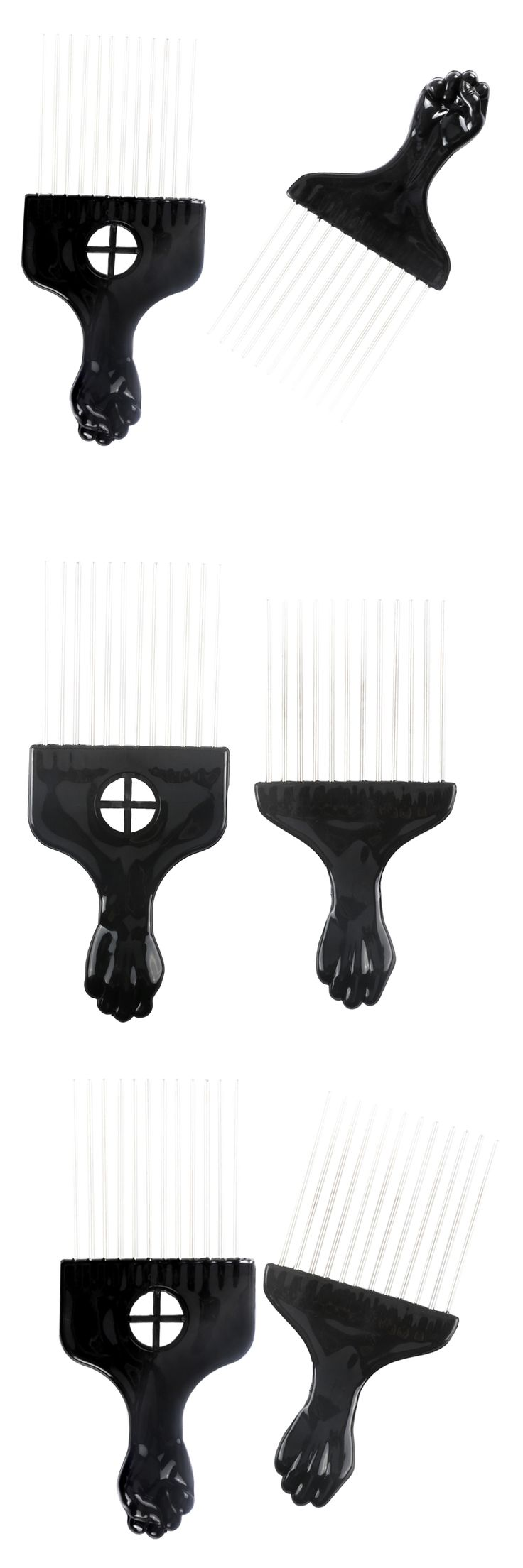 Pro 1 Pcs Afro Hair Fork Comb With Stainless Steel Durable Plastic Hairstyling Pin Comb In 2 Design  Hairdressing Tools