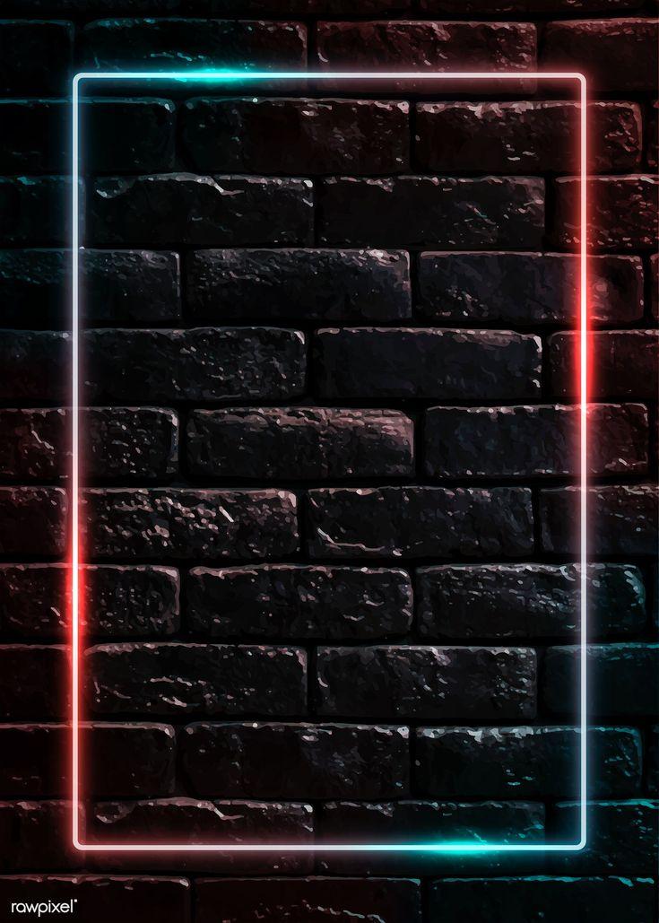 Download premium vector of Rectangle neon frame on black brick wall vector