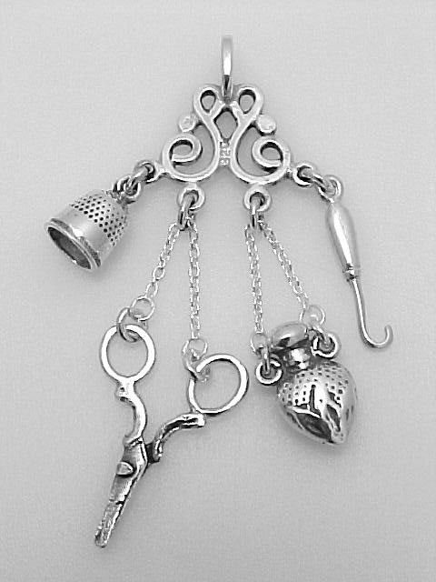 STERLING SILVER CHATELAINE SEW THIMBLE HOOK Sterling Silver Chatelaine - thimble, scissor, button hook