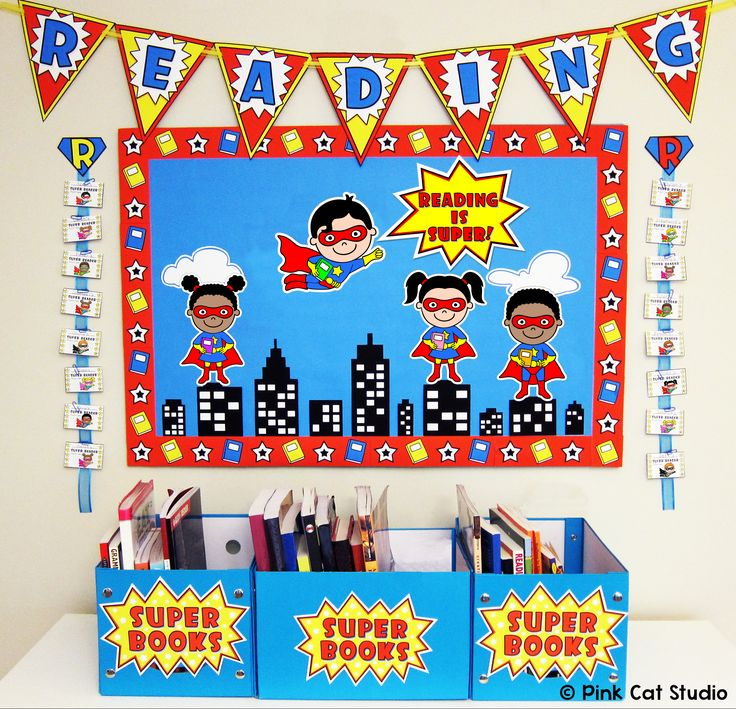 Superhero Theme Reading Bulletin Board Set: This fun Superhero Kids theme reading bulletin board set will encourage your students to become Super Readers! This set has everything you need to create this board including cut-out characters, borders, bunting, incentive cards, rewards, book bin labels and more!