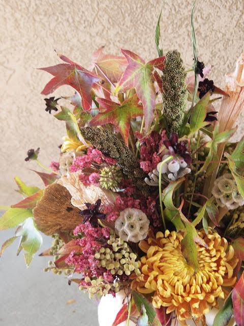 LIquid Amber, Millet, Chocolate Cosmos, Sponge Mushrooms, Scabiosa Pods, Berzellia, Brunia, Mums, Misty, Sarracenia