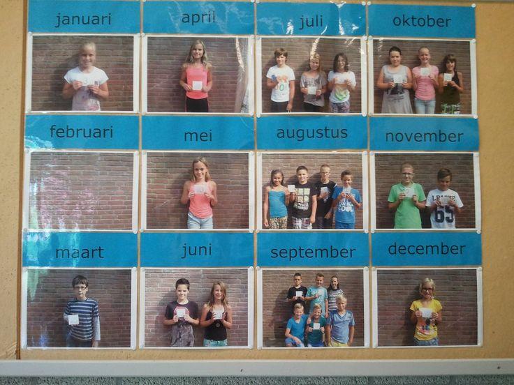 Foto's van de kinderen per verjaardagsmaand.