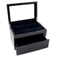 Caddy Bay Collection Piano Glossy Black Wood Watch Storage Box