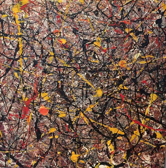 Small Original Abstract Painting Pollock style art