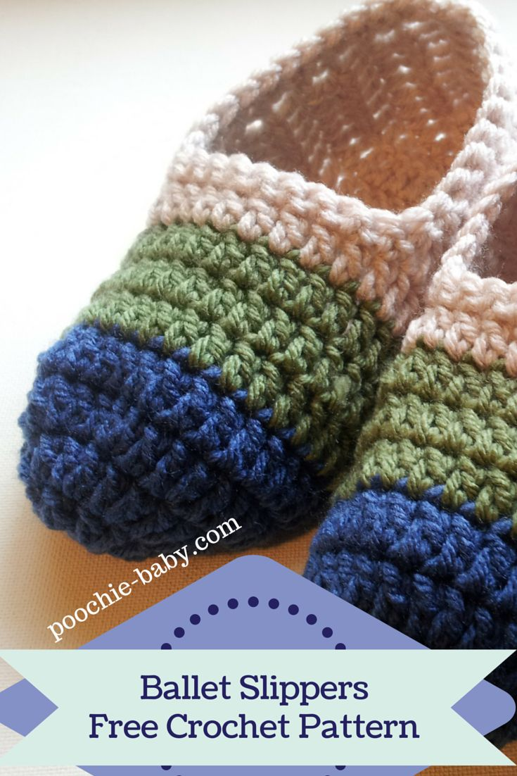 Quick and Easy Crochet Ballet Slippers for Women and Teens | Free Pattern at http://poochie-baby.com | Make them in many colors!