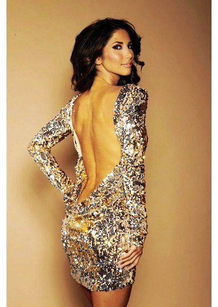 Sexy Gold Sequin Low Back Dress With Sleeves - LoveItSoMuch.com