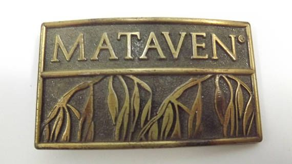 Vintage Brass Mataven Collectible Herbicide Advertising Buckle