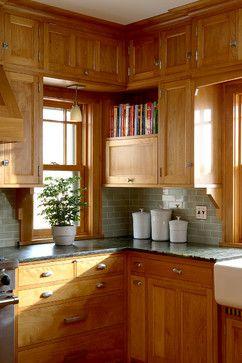 Prairie School kitchen with red birch cabinets and grey subway tile backsplash - David Heide Design Studio
