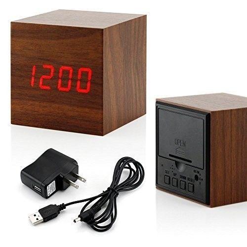 Wooden Alarm Clock Table LED Digital Clock Square Clock Decorative Cube Brown #OpportunityBestDealCubeClock