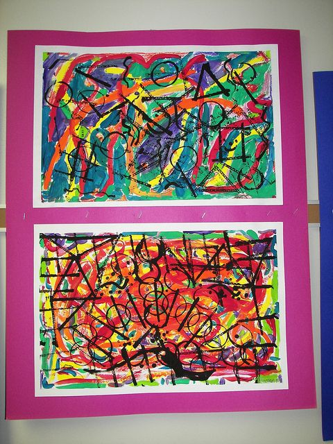1st Grade Kandinsky by vk.pacer, via Flickr...painted then printed with black paint using cardboard edges and tubes