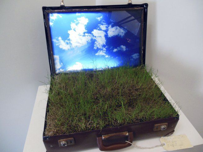 Perran Costi - Landgrab, 2012 (Suitcase, glass, soil, acrylic + light)