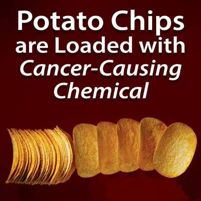 "Acrylamide: ""Are you aware of the dangerous cancer-causing chemical that is present in almost every bottle or bag of potato chips? Pringles certainly contain this dangerous substance, but they are far from being the only culprit. Although acrylamide is found in essentially all potato chips, it is widely considered to be a harmful, cancer-causing chemical, which makes potato chips one of the most toxic processed foods on the market."""