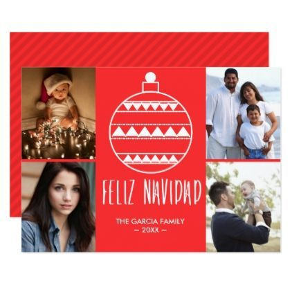 Feliz Navidad Red Family Photo Collage Christmas Card - Xmas ChristmasEve Christmas Eve Christmas merry xmas family kids gifts holidays Santa