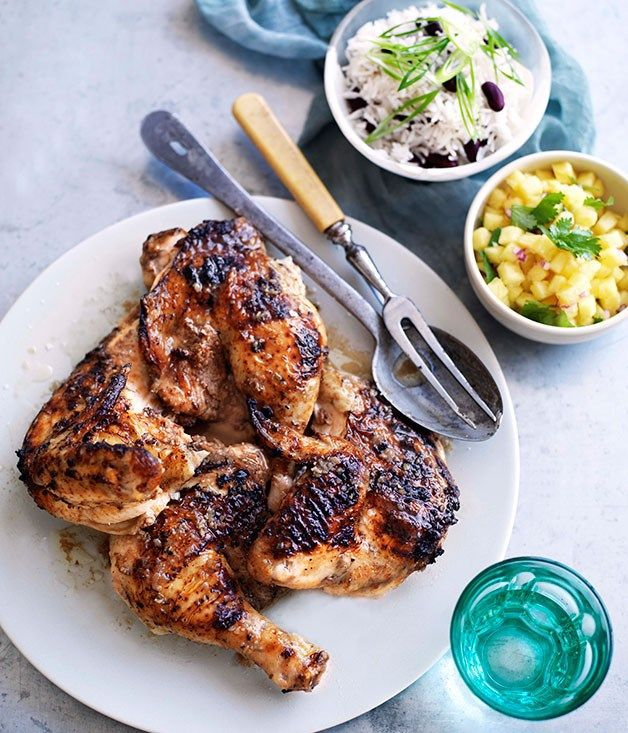 Australian Gourmet Traveller recipe for jerk chicken legs with rice and peas.