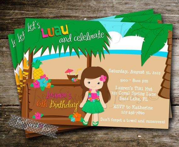 Luau Girl Invitation pool tiki tropical party hibiscus hut Hawaiian birthday invite blonde brunette