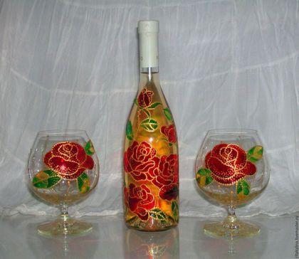 Бокалы, стаканы ручной работы. Ярмарка Мастеров - ручная работа. Купить Подарочный комплект. Handmade. Ярко-красный, узор, роспись