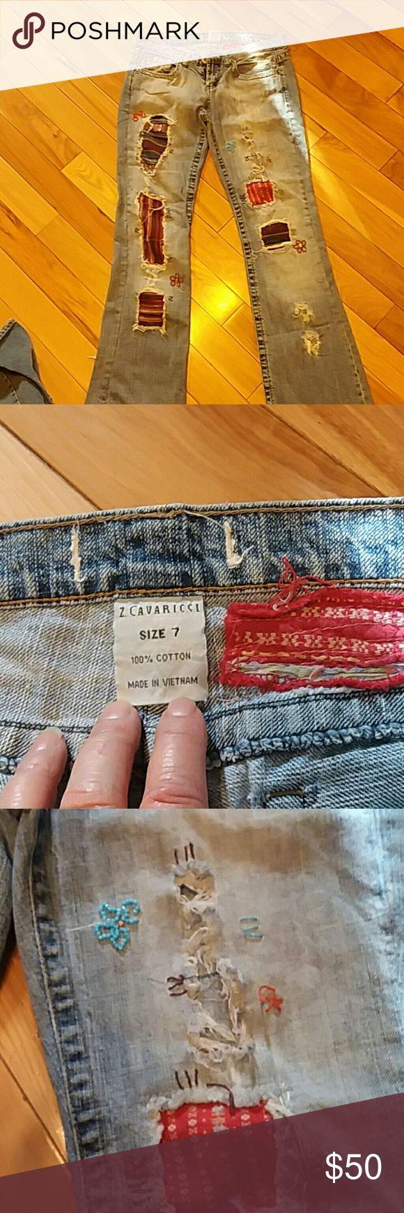Women's tattered jeans Women's tattered jeans Z cavaricci Jeans Straight Leg