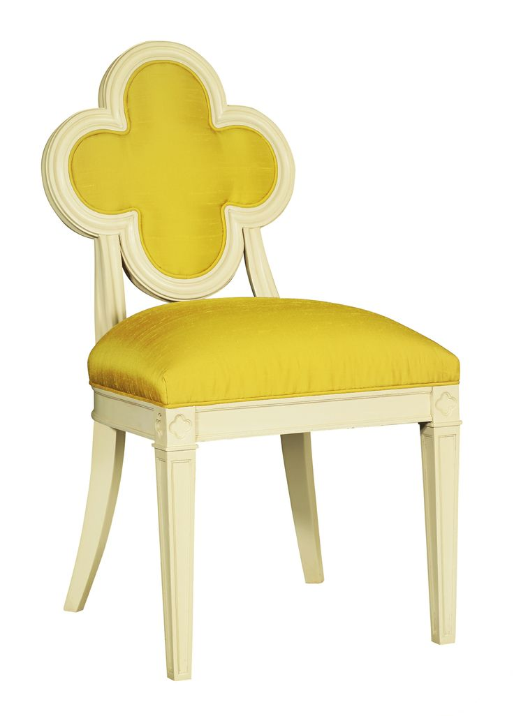 Suzanne Kasler by Hickory Chair Alexandra Chair in COM Yellow Silk with Chippy White Finish | $1,290
