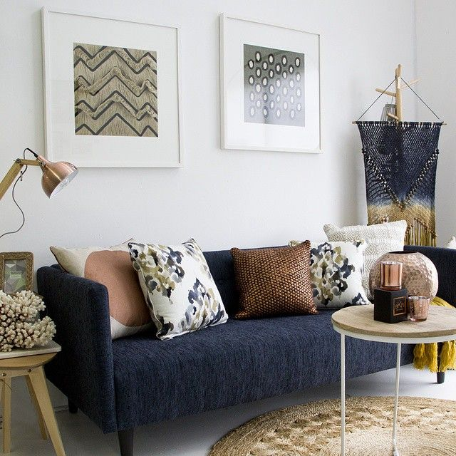 Gorgeous styling in store today by Kellie // lets layer! We decided to layer up all the displays with our winter favourites // The Panama 3 seater sofa from $1200 in @warwickfabrics, hanging weaved art $79.95, @designerboys framed art $595 each, assorted cushions from $49.95 each, @globewest flinders side table $370, copper vase $69.95, tealight holder $14.95, @ekhicabcandles $39.95 and copper lamp $139.95 // contact us in store to make a purchase, we can deliver Australia wide.