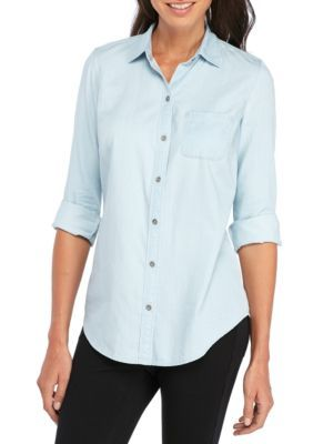 Kim Rogers Women's Chambray Roll Sleeve Shirt - Light Wash - Xl