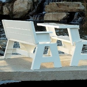 Love this! This bench converts to a seat with table, or two of them facing each other make a picnic table. $94