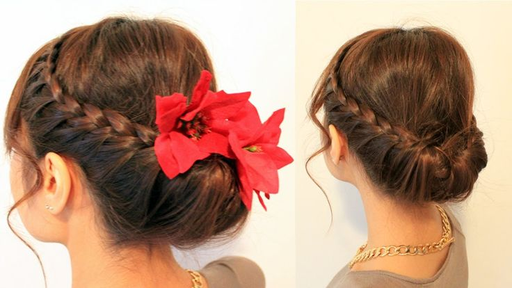 Holiday Braided Updo Hairstyle for Medium Long Hair Tutorial, via YouTube.