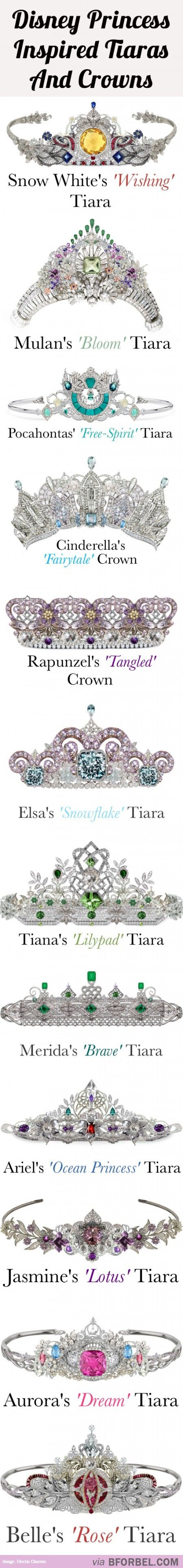 12 Disney Princess Tiaras And Crowns…All Set With Beautiful Diamonds, Gems Precious Stones. -ShazB