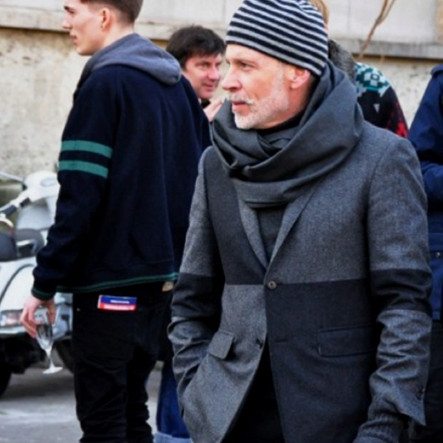 Such a great suit coat. Never thought I'd see Nick Wooster wearing a beanie.