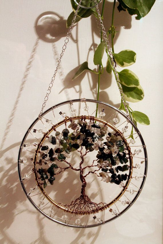 Large SunCatcher Tree of Life Moss Agate by Just4FunDesign on Etsy