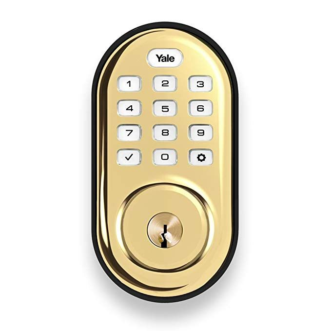 Yale Security Yrd216zw2605 Real Living Assure Lock Push Button Deadbolt With Z Wave Polished Brass Deadbolt Keypad Deadbolt Yale Security