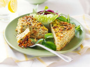 Zucchini and parmesan slice - Wrap this slice and pop it in your lunch box. So simple!