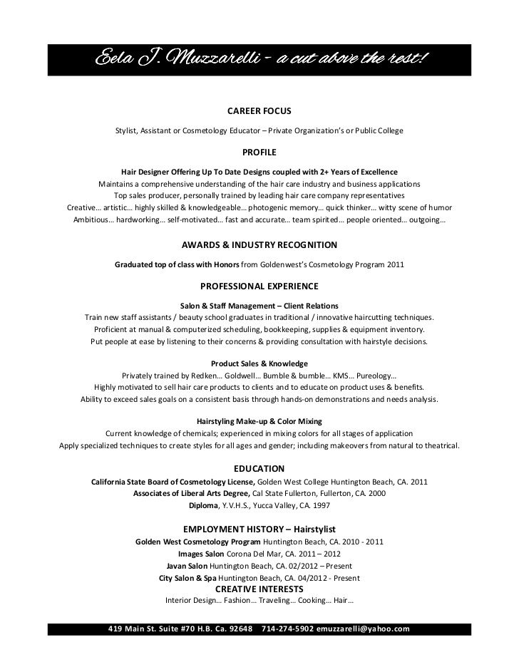 oltre 25 fantastiche idee su free resume samples su pinterest cosmetologist sample resume - Sample Cosmetologist Resume