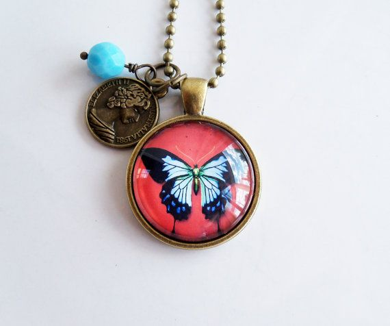 Butterfly Necklace Art Pendant Blue And Black by OxfordBright
