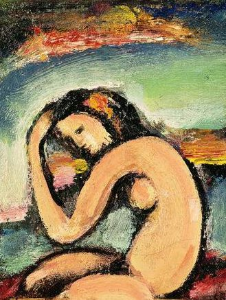 Georges Rouault (1871-1958) was een Franse expressionistische en fauvistische schilder  Zijn moeder stimuleerde zijn liefde voor kunst en in 1885 ging hij in de leer bij een glasschilder. Rouault leerde ook Henri Matisse kennen. Deze vriendschap bracht hem in aanraking met het Fauvisme. Zijn scholing als glasschilder zorgde ervoor dat    liefde voor middeleeuwse kunst ontstond. Deze scholing wordt ook gezien als bron voor zijn stijl van dikke zwarte contourlijnen en heldere kleuren.