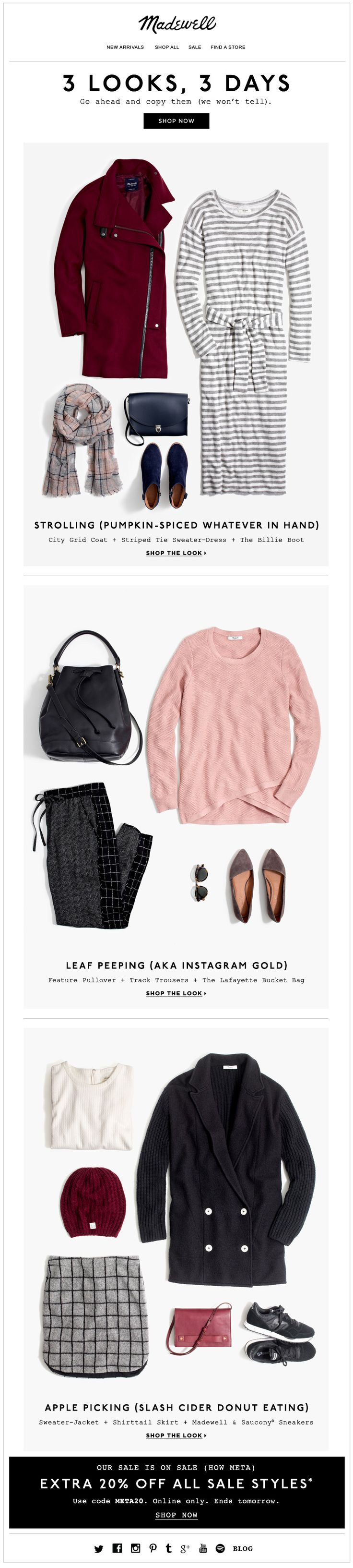 Madewell Fall Looks email. Subject line, 3 cozy looks, 3 things to do in them