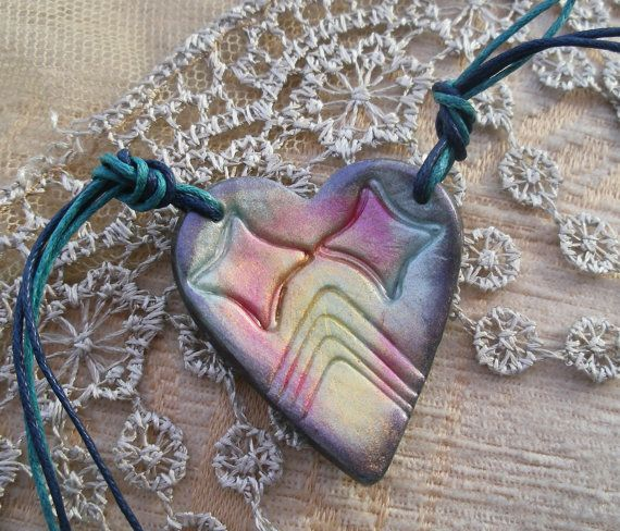 Rainbow heart pendant pearl heart necklace by LiloLilsEmporium