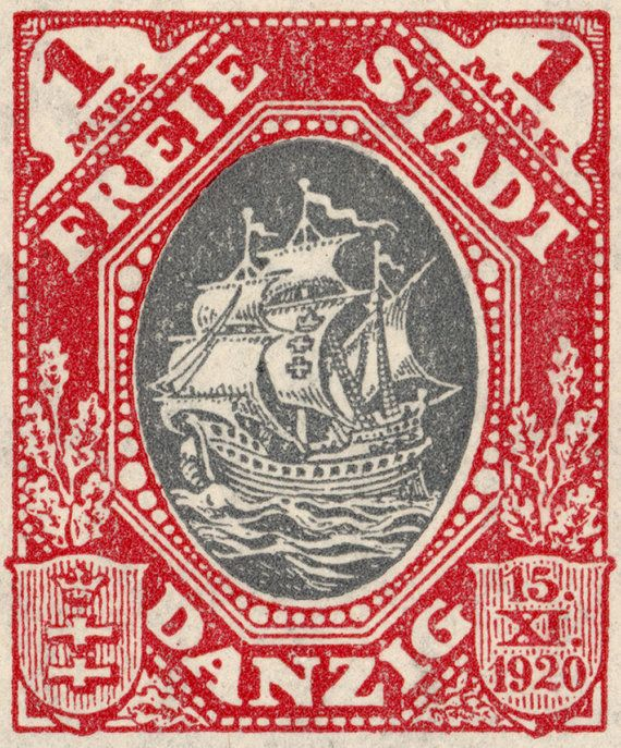 95x8 Hanseatic Trading Ship 1921 Postage Stamp by pastpostage. $39.00, via Etsy.