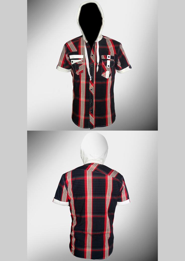 Desarrollo de producto para la marca DKS DIUKAS: Camisa (Tela a cuadros con aplicación en Jersey color blanco en capucha y detalles en los bolsillos)