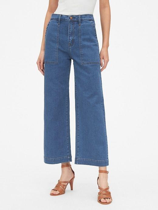 007ffc82a2a87e Gap Women's High Rise Utility Wide-Leg Crop Jeans (Medium) Indigo in ...