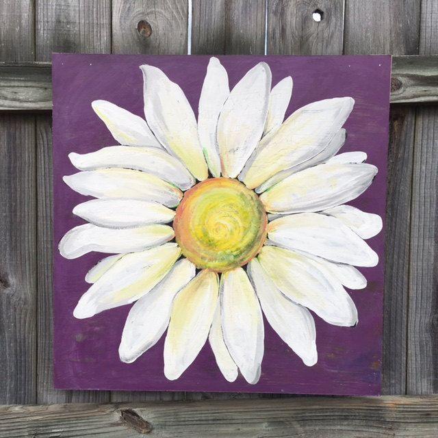 Daisy Painting On A Wood Panel Original Flower Art Purple