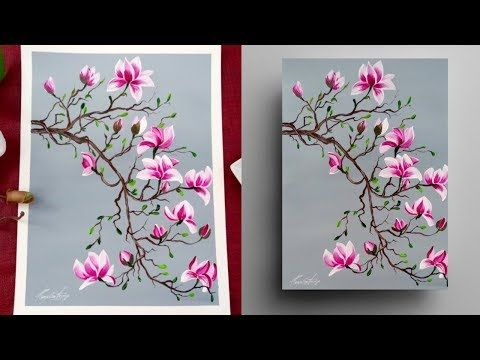 STEP by STEP Magnolia Painting for Beginners – Round Brush – Acrylic Painting Demonstration – YouTube