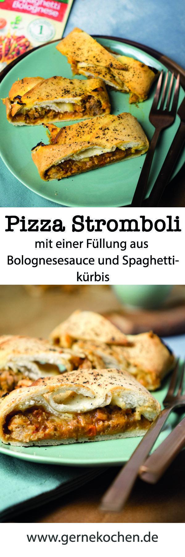 Pizza Stromboli ist kein Vulkan, sondern eine Art Hefezopf, die mit einer Bolognese gefüllt wird. Wir haben noch einen Spaghettikürbis hineingetan. Wenn ihr wissen wollt, was es mit der Bolognese auf sich hat, klickt doch rüber!